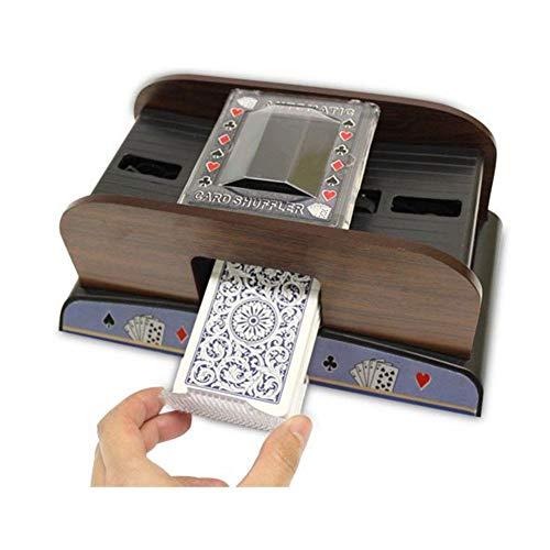 iBaste Kartenmischmaschine Elektrisch Automatisch, Brettspiel Schürhaken Spielkarten Hölzerner Elektrischer Automatischer