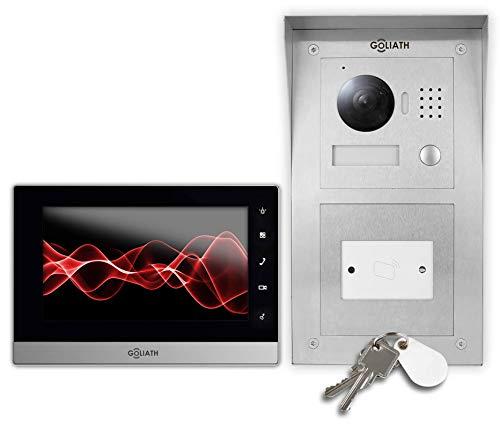 Goliath IP Video Türsprechanlage Türöffner, Aufputz RFID Türstation, Edelstahl, HD Kamera, Smart-Phone App, Schlüsselloser Zugang, Video-Speicher, 1 Familienhaus Set, AV-VTC236 -