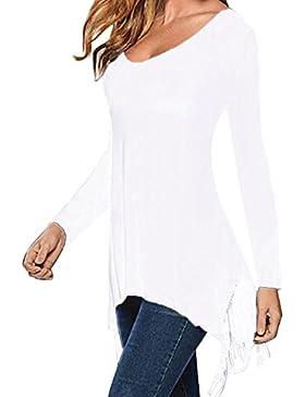 StyleDome Mujer Camiseta Otoño Mangas Largas Blusa Cuello Redondo Elegante Noche Oficina Tops