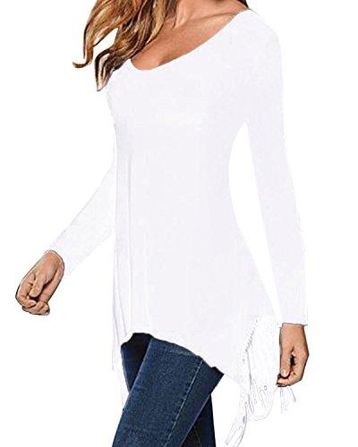 StyleDome Femme Automne T-Shirt Long Asymétrique Col Rond à Manches Longues Houppe Tunique Haut Tops Blouse Blanc