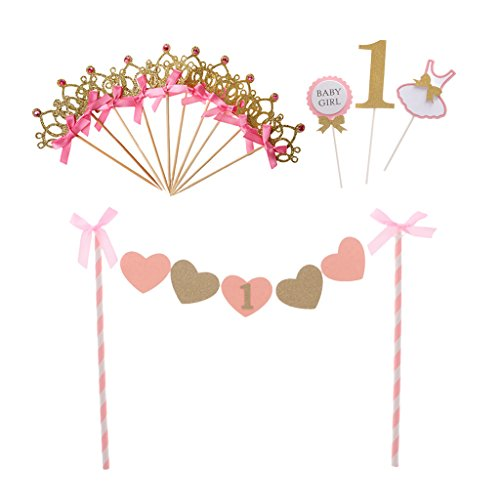 P Prettyia Geburtstag Dekoration Torte Cake Toppers Kuchen Deko ( Kuchen Banner und 13 Kuchen Topper ) für Mädchen 1. Geburtstag Party (Ersten Mädchen Kuchen Baby Geburtstag)