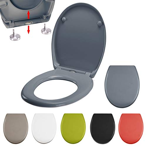 MSV Asiento WC eclipsable, Gris, 37 x 44 x 4,5 cm