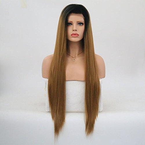 ze-Chemiefaser-Kappen Der Langen Geraden Haarspitze Der Damen Perücke Steigung Braune Lange Gerade Haarperücke,22Inch (Ding 1 Ding 2 Perücke)