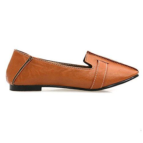 TAOFFEN Damen Retro Flach Schuhe Pointed Toe Pumps Mit Schnalle Braun
