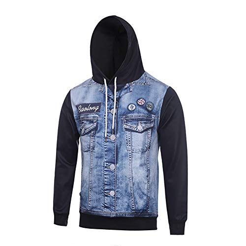MNLXL Bedruckter Sweatshirt-Pullover Mit Langärmeligem Kapuzenpulli Aus Jersey-Print,Black,XL Drawstring Jersey Sweatshirt