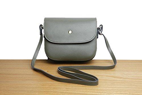 Le Donne Cuoio Genuino Tracolla Messenger Stile Vintage Semplice Mini Piccola Borsa Piazza GrayGreen