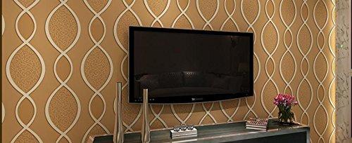 Wellig-stick (Ayzr Europäische Vliesstoff Blue Wallpaper 3D Stereoskopische Wellig Wohnzimmer Fernseher Sofa Hintergrundbild, Braun)