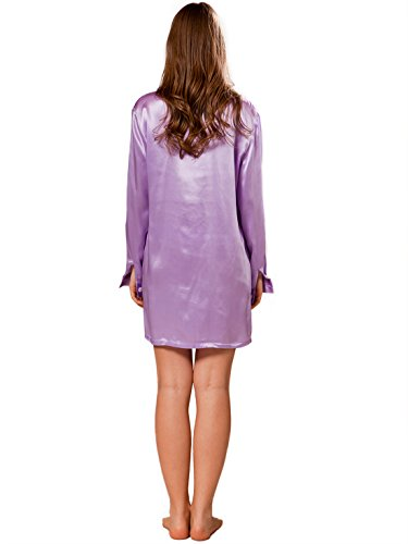 ELLESILK 100% Natur Seide Nachtshirt Damen langarm, 22 MM Maulbeerseide Sleepshirt Lilafarbe