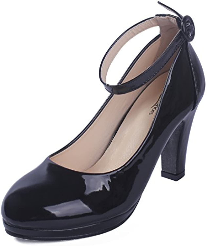 AgeeMi Shoes Damen Buckle PU High-Heels Pumps Schuhe