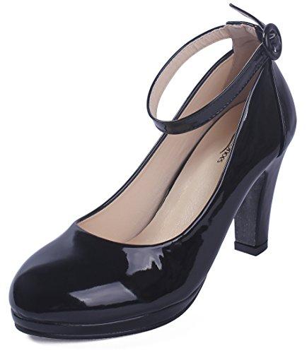 Pu High Heel Pumps (AgeeMi Shoes Damen Buckle PU High-Heels Pumps Schuhe,EuD52 Schwarz 38)