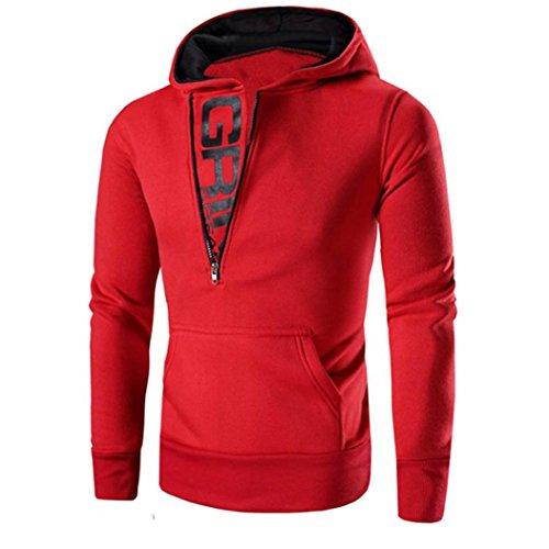 Koly Maglie maniche lunghe da uomo Felpa con cappuccio con cappuccio Giacca da cappotto Outwear Red