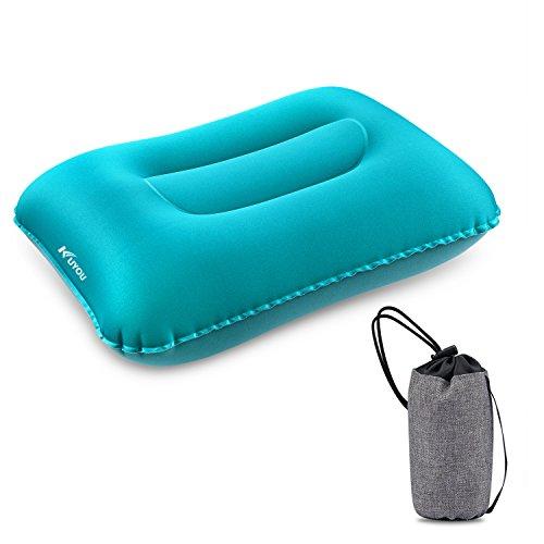 Aufblasbares Campingkissen, komprimierbares, ultraleichtes, ergonomisches, tragbares Luftkissen für Nacken- und Lendenwirbelstütze, kompaktes Schlafkissen für Wandern, Reisen, Ausflüge und Strandurlau