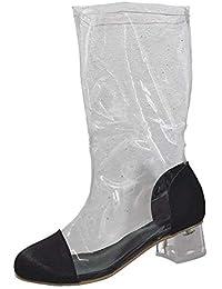 Botas Mujer Zapatos Mujer Botines Botas sin Cordones Cabeza Redonda Cristal Talón Botas Transparentes Tacones…