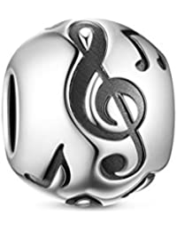 TINYSAND 925 Sterling Silver Musical Note Round Charm Bead Fit Europe Charm Bracelet