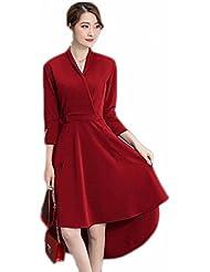 Robe de Soirée à la Mode Et Au Tempérament Féminin Robe à Manches Irrégulières à Manches Sept