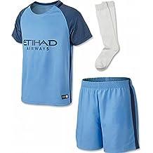 Ensemble de football personnalisable (nom et numéro) pour enfant Manchester City FC saison 2016/2017 Match à domicile Bleu