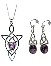 Silver / Blue John (Derbyshire) and Scroll-Top Pendant & Chain WITH Stud Earrings SET HQE2HGhi1