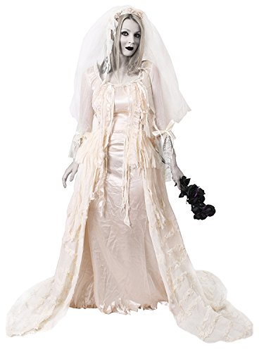Fantasma novia Ladies Miss Havisham Halloween Fancy Dress Costume Deluxe color Blanco Efecto Ripped vestido con velo de novia cadáver muertos boda vestido