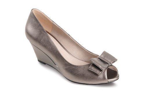 Sapphire Boutique by Sapphire - Chaussures Compensés Bouts Ouverts Etain Noeud Talon Bas Étain