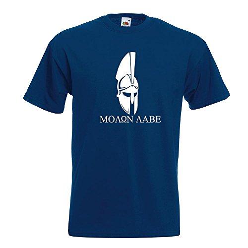 0 Helm Molon labe T-Shirt in 15 verschiedenen Farben - Herren Funshirt bedruckt Design Sprüche Spruch Motive Oberteil Baumwolle Print Größe S M L XL XXL (Blauer Spartaner Kostüm)