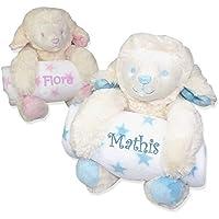 Plaid couverture et sa peluche MOUTON personnalisée pour bébé, ROSE ou CIEL, 100x75cm, cadeau de naissance, cadeau bébé, cadeau baptême, plaid poussette, plaid cosy