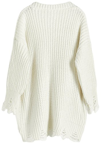 Vogueearth Fashion Damen's 3/4 Hülse Pattern Knit Sweater Sweatshirt Open Cardigan Strickjacke Beige