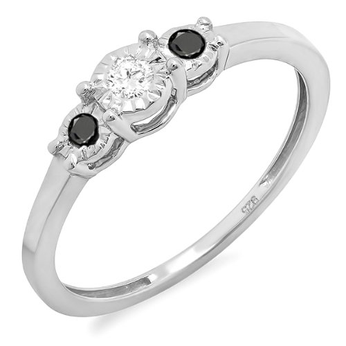 Schwarze 3-stein Diamant-ring (DazzlingRock Collection Damen 0,20 Karat Sterling Silber Schwarz & Weiss Diamant 3 Stein Engagement Versprechen Ring 1/5 Ct 8)