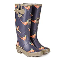 viz-uk wear Ladies Pheasant Print Matt Festival,Rain,Snow Wellies Slip On Wellington Boots Sizes 4 to 8