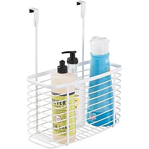 mDesign - Canasto organizador, para colocar sobre perfil del gabinete de la cocina; guarda papel de aluminio, bolsas para sándwiches, artículos de limpieza - grande - Cromado