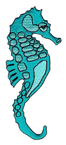 Patch Seepferdchen Blau Aufnäher Bügelbild Flicken Größe 4,2 x 10,2 cm -