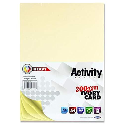 Bastelkarten in A4-Format mit 200 g/m² von Premier Stationery-Elfenbein (Packung aus 50Stück/Blatt)