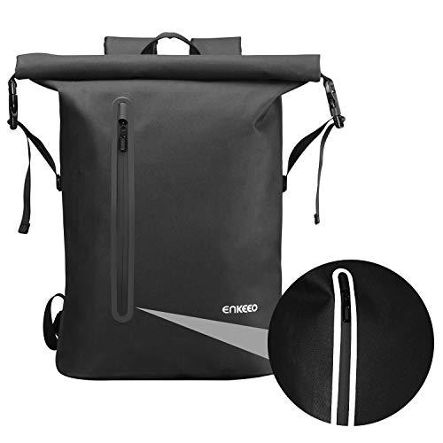 ENKEEO Wasserdicht Rucksack 26L Laptop Tagesrucksack mit 3M Reflexstreifen Roll Top Reiserucksack Sportrucksack für Männer und Freuen, Schwarz