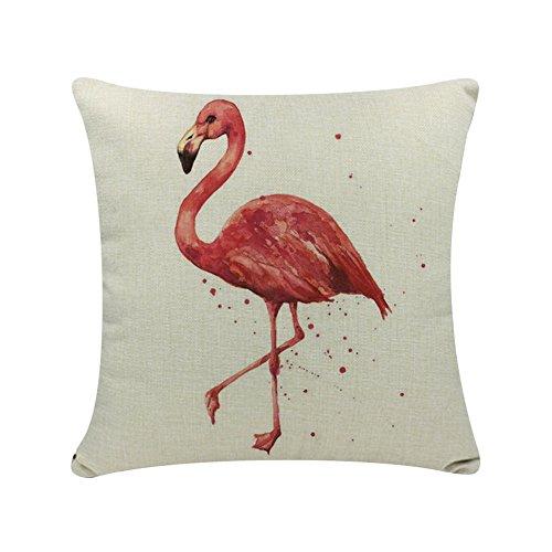 DaoRier Baumwolle Leinen Kissen Fall Flamingo Stil elegant weich Kissenbezug für Sofa Home Auto Büro Dekoration 45* 45cm, keine Einsatz, Baumwoll-Leinen, 1, 45 x 45 cm -