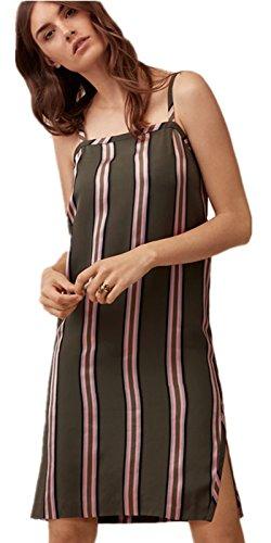 Sexy à Bretelles de Spaghetti Rayée à Rayures Sur Les Côtés Fendue Fendu Fentes Mini Courte Shift Boxy Straight Ligne Droite Dress Robe à Rayures
