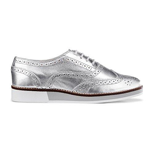 Cox Damen Damen Plateau-Schnürer, mit Glattleder in Silber und auffälligem Design Silber Leder 40
