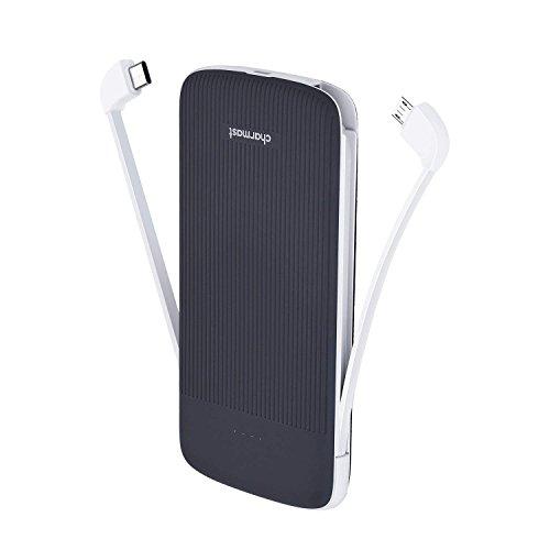 Charmast Powerbank 10000mAh Externer Akku Ladegerät mit Integriertem USB Typ C Micro USB Portable Handy Ladegerät für iPhone Samsung Huawei Android und Weitere Smartphones(Grau)
