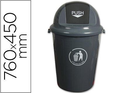 Papelera De Plastico 80 Litros Con Cabecera Redonda Gris
