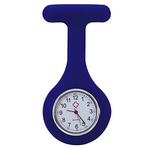 tumundo Pfleger-Uhr Schwestern-Uhr Puls Anstecknadel Kittel Brosche Silikon-Hülle Quarz Damen-Schmuck Krankenschwester, Farbe:dunkelblau