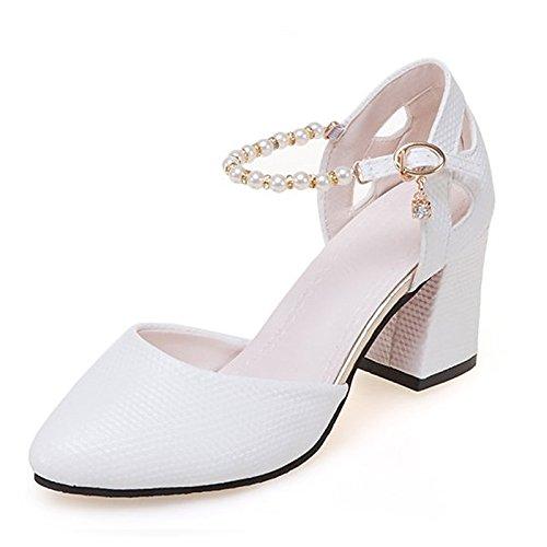 Dimaol Chaussures Femme Caoutchouc Printemps Automne Confort Talons Bas Talon Blanc Extérieur Blanc Rose Toe
