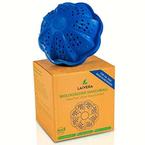 Laivera Öko Waschball I Saubere Wäsche ohne Waschmittel I Umweltfreundlich & Laborgeprüft I Eco Waschkugel mit 4 Mineralarten I Nachhaltiges Produkt ideal für Allergiker und sensible Haut