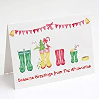 Pack Of 10 Personalised Christmas Greeting Cards Design 2