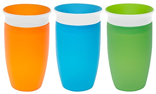 Munchkin Miracle 360 Degree 7 Ounce Spoutless Trainer Cup, 3 Pack, Orange/Blue/Green