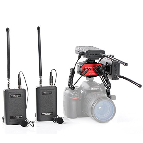 Saramonic Lavalier Mikrofon System 4-Kanal SR-WM4C Zwei Sender und Zwei Empfänger Audiomixer SR-AX100 für DSLR-Kamera Camcorder Wireless für Das Interview