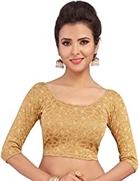 STUDIO SHRINGAAR WOMEN'S BEIGE STRETCHABLE LYCRA READYMADE SAREE BLOUSE WITH ROUND NECK AND 3/4TH SLEEVES