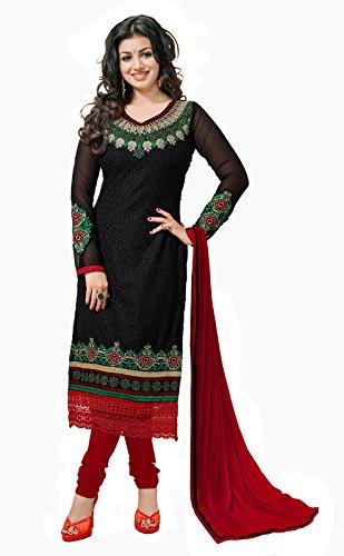 Khushali Women Georette Karachi Unstitched Salwar Suit Dress materials (Black)  available at amazon for Rs.1273