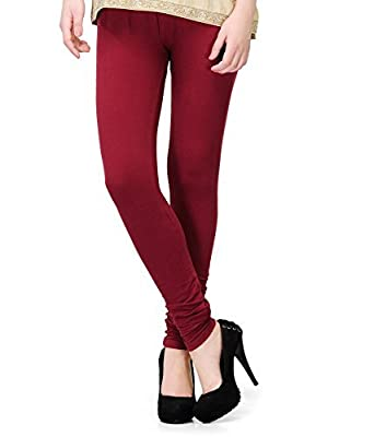 Jai Ganesh Store Women's Cotton Stretched Leggings (Black, Red and Maroon, Free Size) - Combo Pack of 3