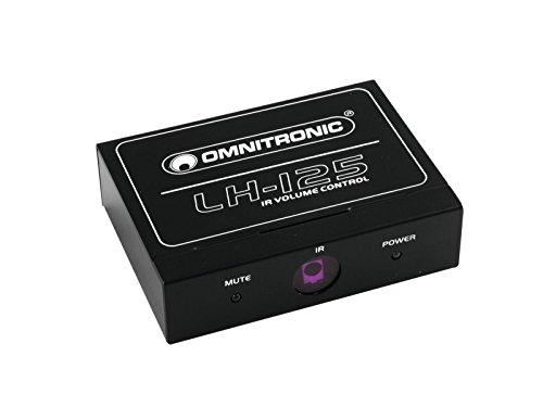 Omnitronic LH-125 IR-Lautstärkeregler | Stereo-Lautstärkeregler mit IR-Fernbedienung | Geeignet z. B. für CD-Player, Aktivboxen oder Verstärker | IR-Fernbedienung im Scheckkartenformat (Fernbedienung Stereo-verstärker)