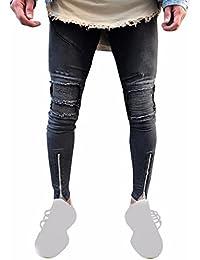 jeans hombre Xinan pantalones rotos largos vaqueros hombres vaqueros  pantalones hippie harem pantalones de deportivos con 3861737b13f
