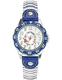 Lulu Castagnette - 38766 - Montre Fille - Quartz Analogique - Cadran Argent - Bracelet Cuir Multicolore