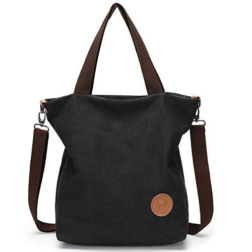 JANSBEN Damen Canvas Handtasche Schultertasche Casual Multifunktionale Umhängetaschen Große für Arbeit Schule Shopper Lässige täglich (Schwarz) -